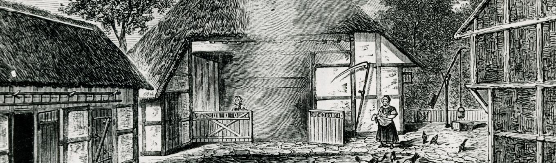 Grafika archiwalna. Dziedziniec zagrody otoczony budynkami.