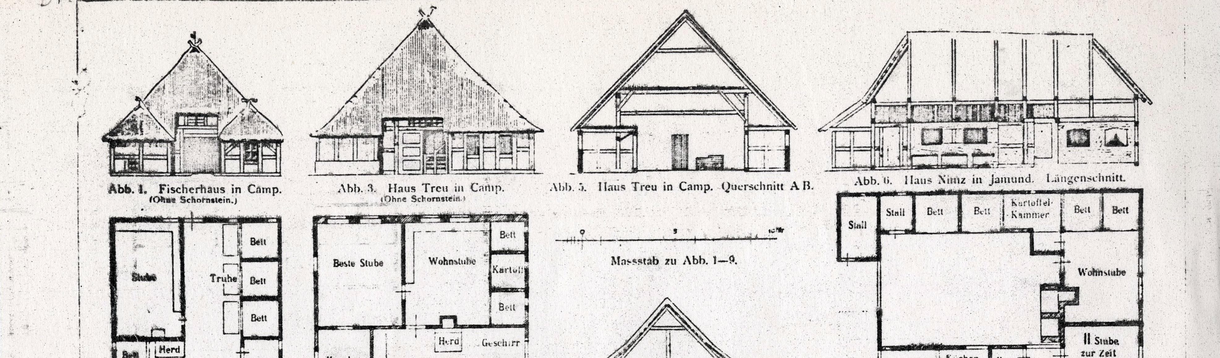 Rysunek archiwalny przedstawiający szkice inwentaryzacyjne chałup.