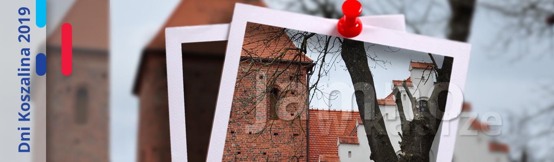 Po lewej stronie napis Dni Koszalina 2019. Na środku zdjęcie w stylu Polaroid przedstawiające kościół w Jamnie