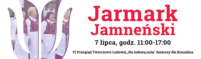 Po lewej stronie logo Zagrody w kształcie tulipana, z wpisanym w nie zdjęciem zespołu ludowego. Po prawej stronie napis: Jarmark Jamneński. 7 lipca,godz.11-17.