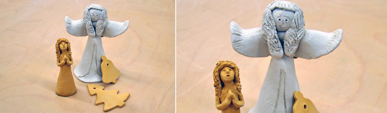 aniołek wykonany z gliny