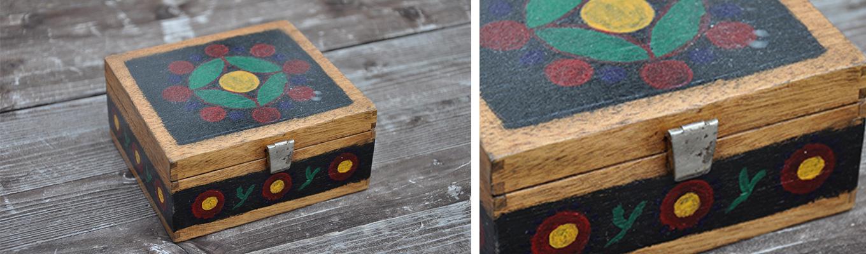 pięknie ozdobiona szkatułka wykonana na warsztatach polichromii